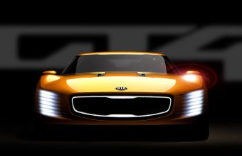 Kia teases the GT4Stinger concept before it debuts at the Detroit auto show.