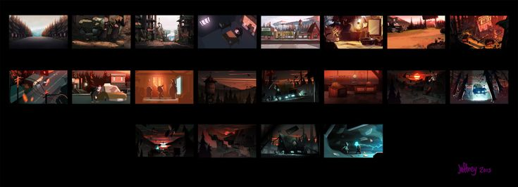 """jeffreythompson:Gravity Falls Season 2 """"not what he seems"""" Color keys.  Look CLOSELY at these awesome color keys by Jeffrey Thompson. This is where he scripted out how the color should change to enhance the emotions over the course of the episode. Masterfully done!"""