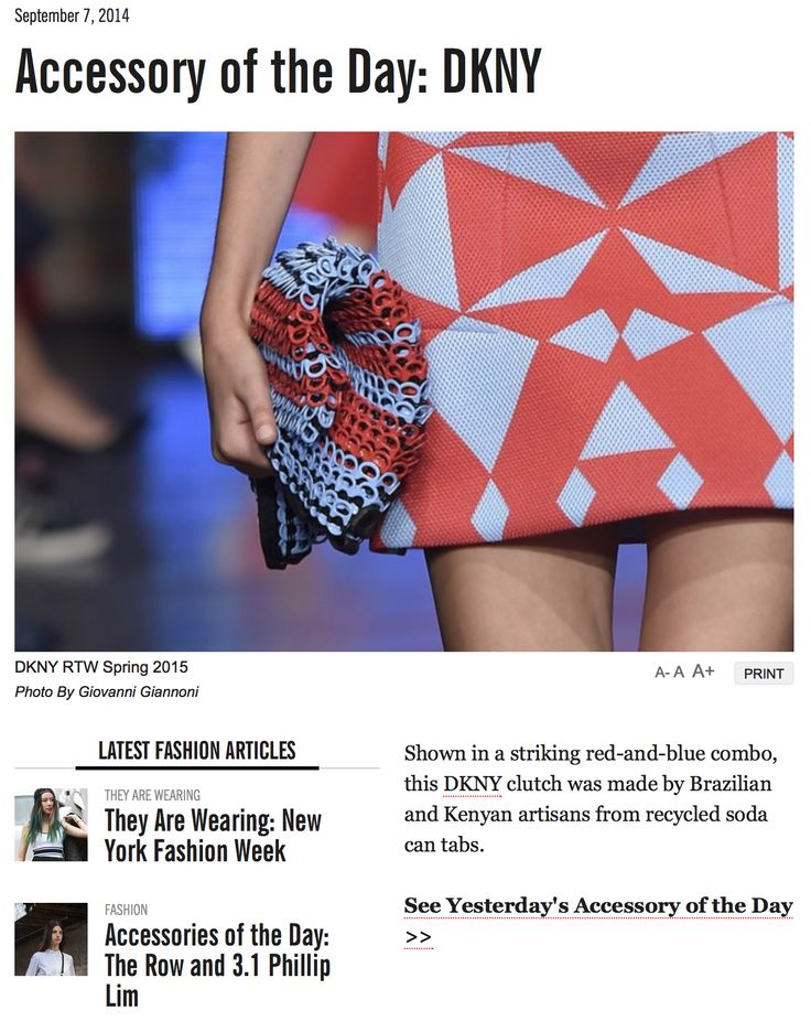 DKNY (heart) Bottletop clutch featured as 'accessory of the day' on Women's Wear Daily.
