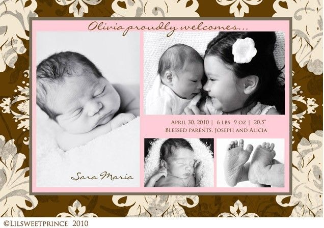 Shabby Chic Sibling Birth Announcement - Wording and layout, not pattern