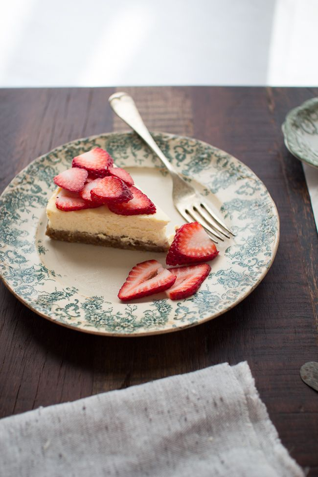 Lemon vanilla bean cheesecake with a cashew coconut crust