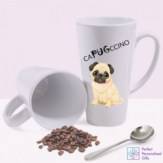 Capugccino Latte Mug. Looking for a quirky gift for someone who can't get enough of their coffee or pug fix? This wonderful Capugccino Latte Mug is the perfect gift! Featuring a 'caPUGccino' message and pug image.  It's a great gift for a birthday, new home or for a special friend just because! This cappuccino latte white ceramic mug holds 17oz and is dishwasher safe.