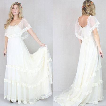 Vtg 60 70s Cream Sheer Boho Hippie Wedding Prairie Lace Draped Maxi Dress Bridal