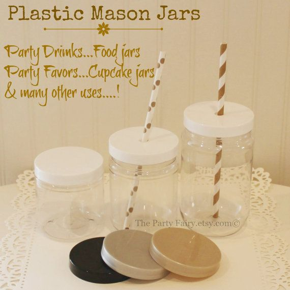 Plastic Mason Jar 15 Mason Jars with Lids SPILL by ThePartyFairy