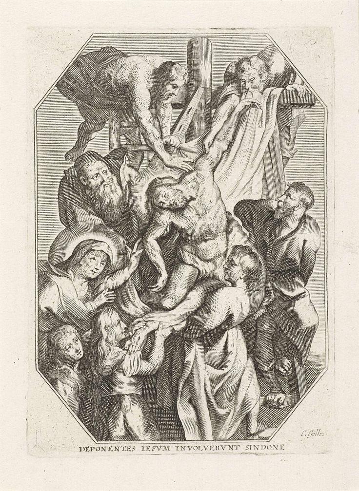 Cornelis Galle (I) | Kruisafneming, Cornelis Galle (I), 1586 - 1650 | Jozef en Nikodemus halen het lichaam van Christus van het kruis. Johannes, Maria en Maria Magdalena steunen het lichaam. Elfde prent uit een serie van 13, met voorstellingen uit het lijdensverhaal van Christus.