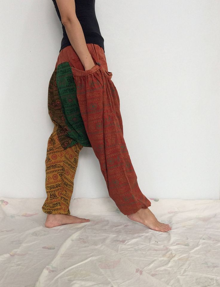 Orange Green Yellow Hippie Harem Pants, Unisex Pants, Drop Crotch Pants, Baggy Pants with Om patterned (HR-565) by ThaiFascinate on Etsy
