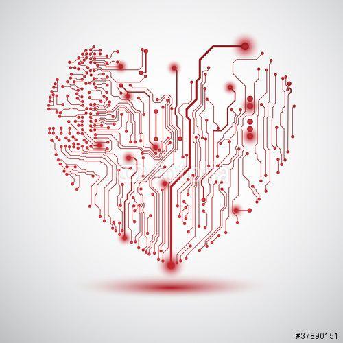 Vector: Sfondo con cuore su schema elettrico - Heart electric board