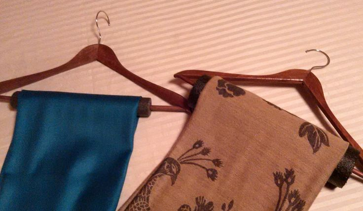 "For hanging SCARVES .Pipe insulation (whatever size you have) over wooden pant hangers keep my scarves ""ready to wear"""