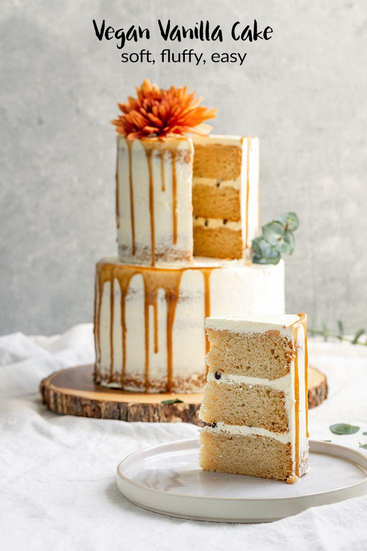 Dieser Vanillekuchen hat eine weiche, zarte, feuchte Krume und ist zufällig vegan. …   –  Kuchen vegan