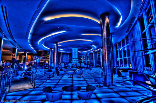 The #Bleaubar at the #Fountainebleau hotel. After a sumptuous 1 billion dollar renovation, the #Fountainebleau Hotel is now considered the most luxurious hotel in #MiamiBeach. Photo: Looking for George Jetson by Photomike07 / MDSimages.com, via #Flickr