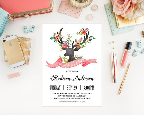 Bohemian Stag Baby Shower Invitation by fineanddandypaperie