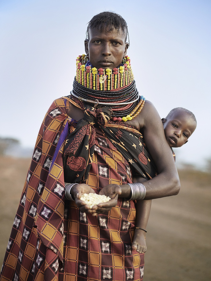 Nancy Ekidor from Turkana, Kenya, holds a days worth of food in her the palm of her hands.    Pic: Ian Rankin/Oxfam