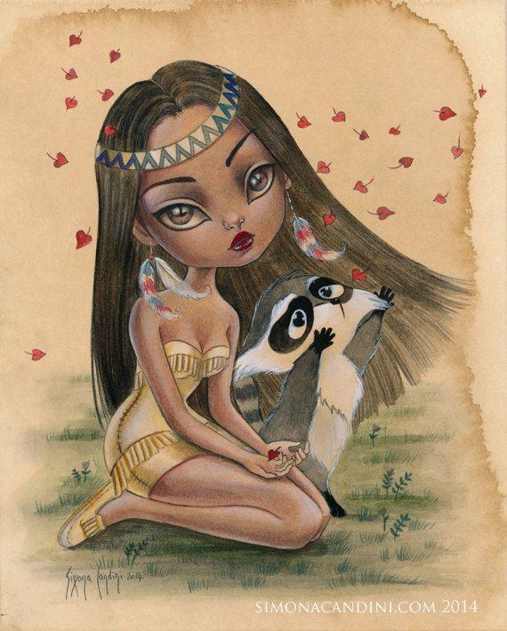 Pocahontas princesse LIMITED EDITION impression signée numérotée Simona Candini lowbrow pop surréaliste grands yeux raton laveur illustration de conte de fées