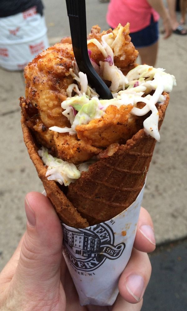 Chicken and Waffle Cone Eaten at the Wisconsin State Fair !!