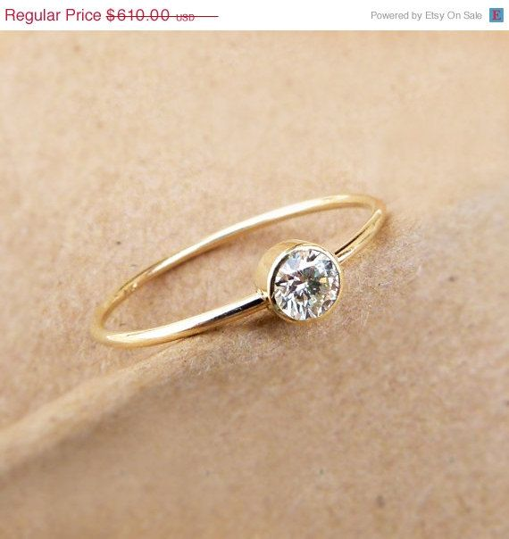Diamond Engagement Ring - Simple Engagement Ring - 18k Solid Gold