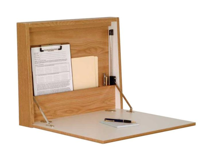 Folding Desk Laptop Station For Wall Mount   Oak