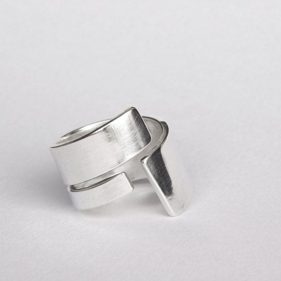 Sterling silver wide wrap band ring  by Edith Toledano. Read more at https://www.etsy.com/il-en/listing/285652331/sterling-silver-wrap-ring-wide-swirl