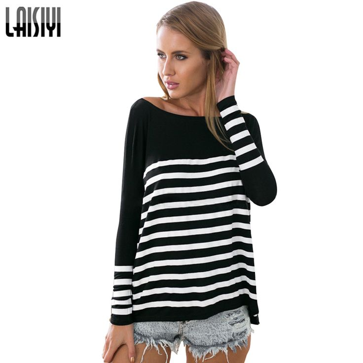 LAISIYI 2017 Fashion Spring Black White Striped T-shirt Women Loose Casual Batwing Tops Long Sleeve Striped Shirt TS1348