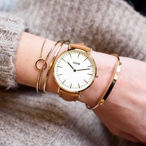 Cluse La Bohème Gold White Caramel Watch Available at www.modespot ... 6d2195de77
