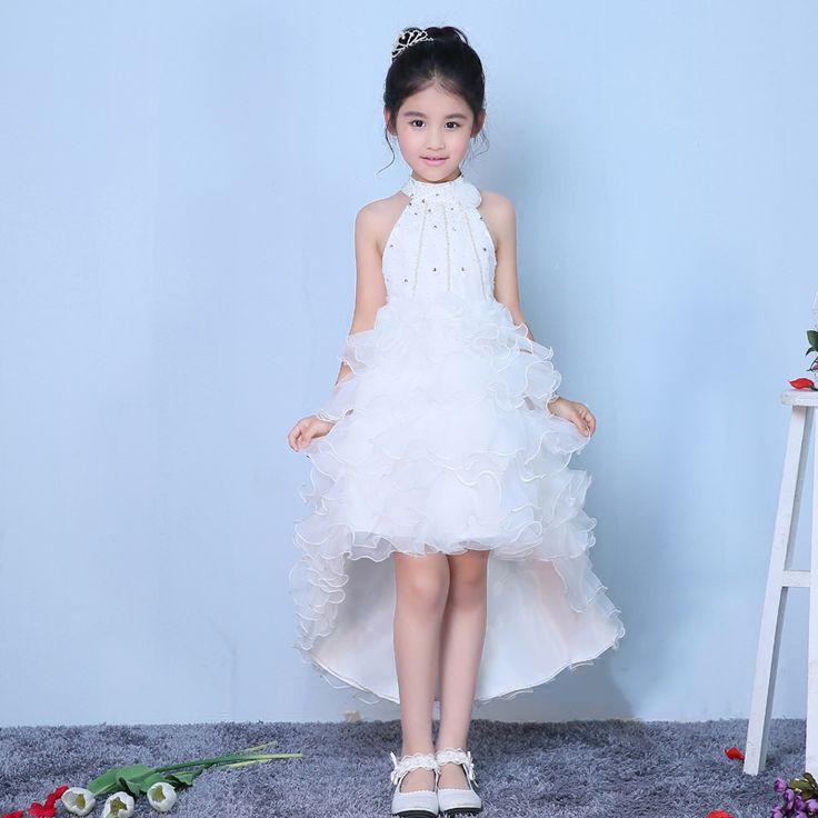 >> Click to Buy << beading flower girl dresses for wedding birthday party halter sleeveless short front long back white pageant dress for girls #Affiliate