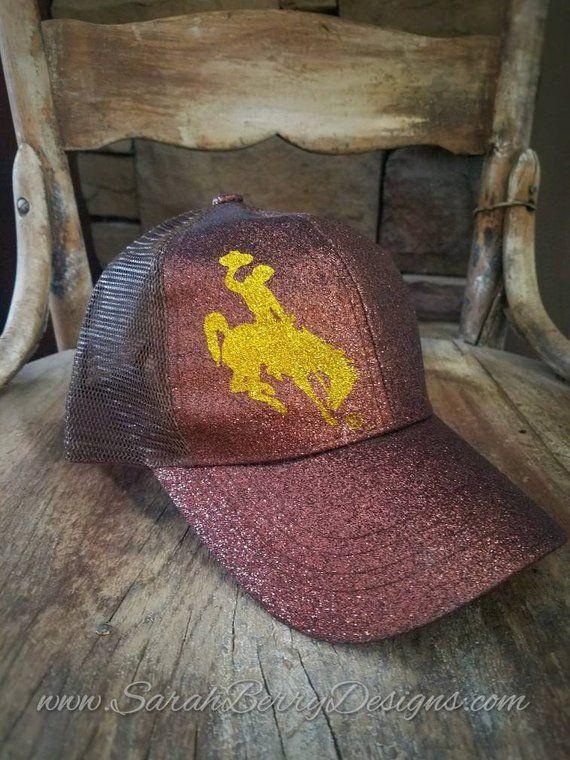 Wyoming Cowboys CC Glittered Messy Bun Baseball Cap with Bucking