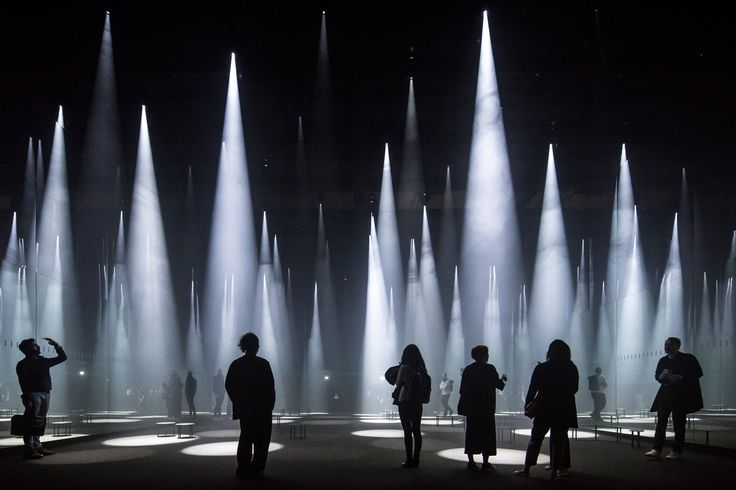 Photographer Laurian Ghinitoiu is shortlisted for this shot of Sou Fujimoto's Forest of Light installation, which was created for the clothing brand COS at this year's Milan design week.