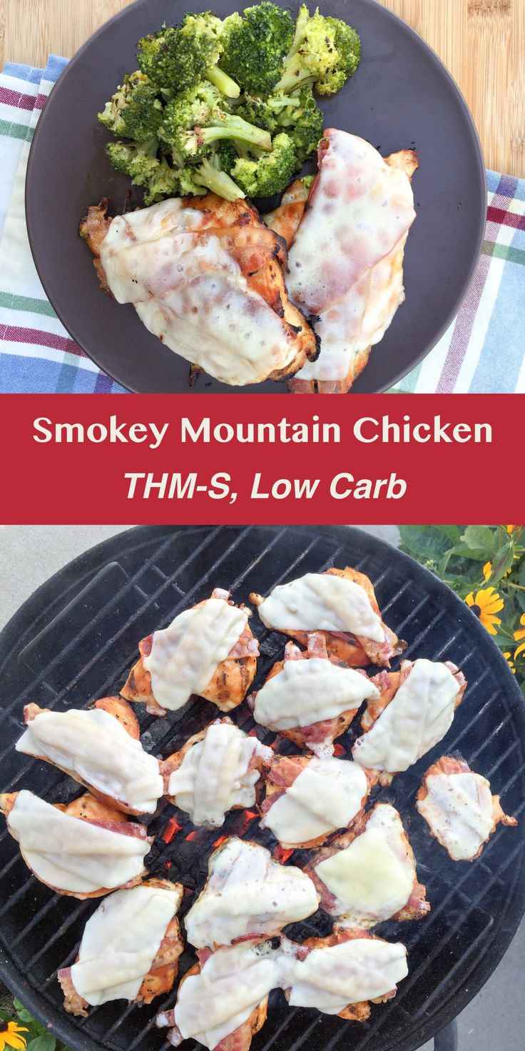 Smokey Mountain Chicken {THM-S, Low Carb} Barbecued chicken with crispy bacon and melty cheese.