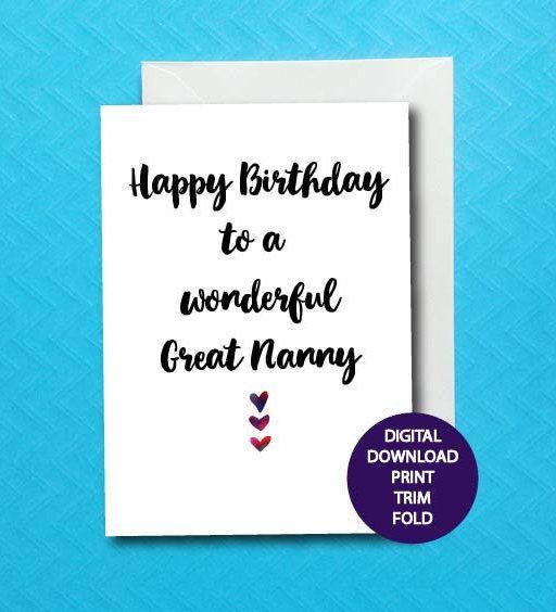 Great Nanny Birthday Card For Grandparent Printable Nan Digital Download 5X7 By LukannaDesigns On Etsy Greatnanny Nannylife