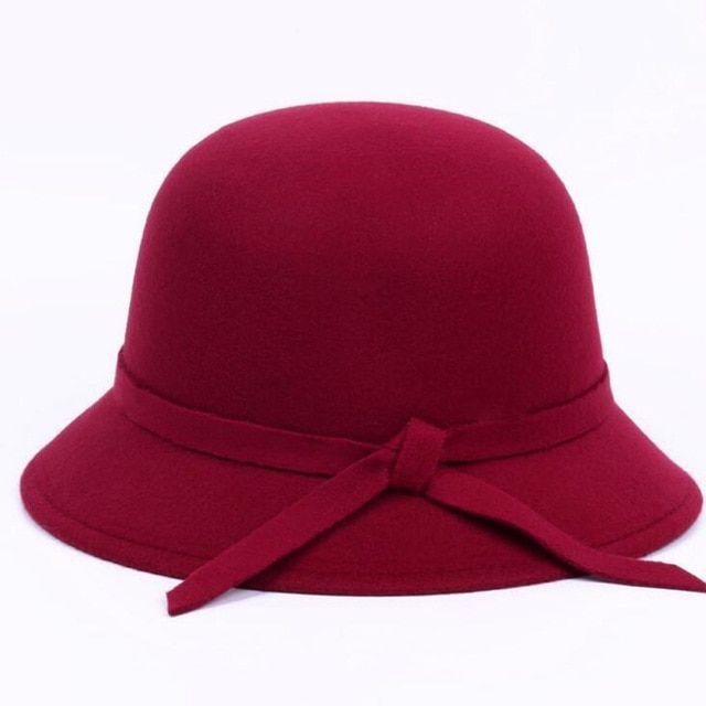 Black Wool Womans Derby Hat Cap Vintage Bowler Hats Headwear Cloche Head Wear