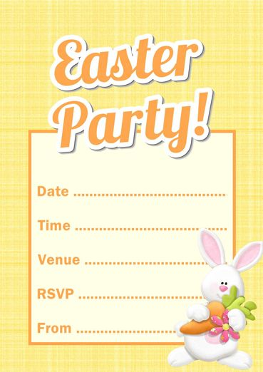 Free Printable Easter Bunny Party Invitation Template