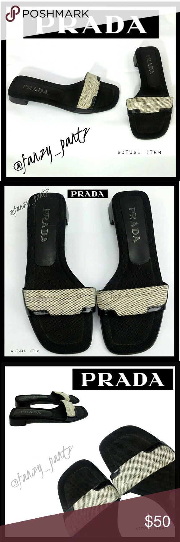"""🌴 Prada slide on sandals Cute single strap slide on sandals with a .75"""" heel lift.   Light tan, or dark cream,  textured strap, cushioned insole. Excellent condition.  Size 37,  best fits 6.5 to 7 in my personal experience. If you are unsure about Prada sizing or EU conversions, feel free to ask for measurements to ensure fit. Buyers are responsible for knowing their size. ABSOLUTELY NO TRADES PLEASE! REASONABLE OFFERS WELCOME THROUGH OFFER FEATURE ONLY PLEASE!  04051750 Prada Shoes Sandals"""