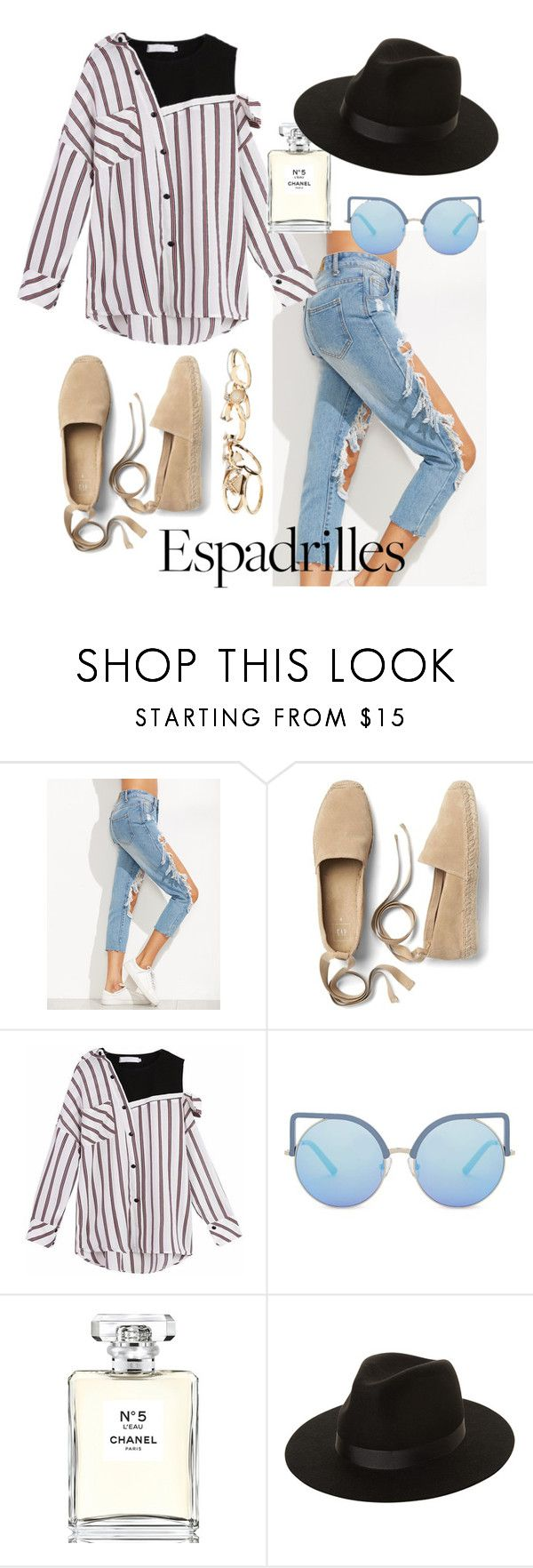 """""""Espadrilles for days"""" by robyn-bezuidenhout on Polyvore featuring Gap, Matthew Williamson, Chanel, Lack of Color and GUESS"""