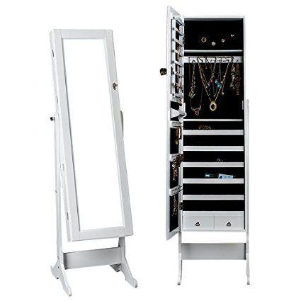 DXP® Schmuckschrank Spiegelschrank 150 x 47 x 41 cm Standspiegel Schmuckkasten Spiegel Weiss JCYJ01
