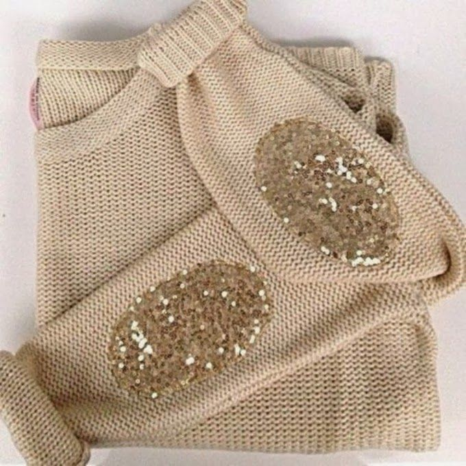 Gold Sequins Glitter Elbow Patch Sweater- I've probably already pinned this, but it's just so cute.
