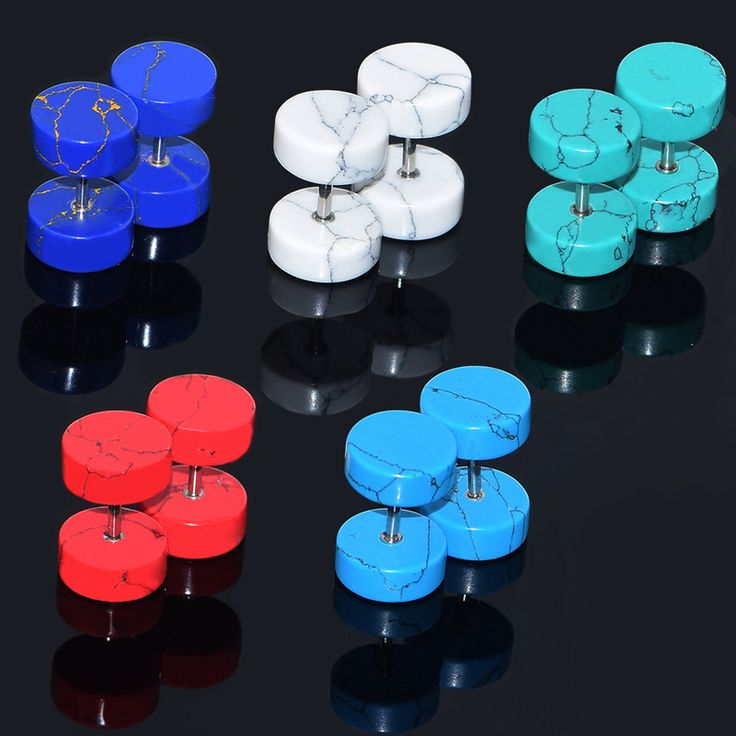1 Pair Stone Fake Illusion Ear Plugs Body Piercing Jewelry Earrings Studs Fake Cheater  Plugs Ear Stretchers