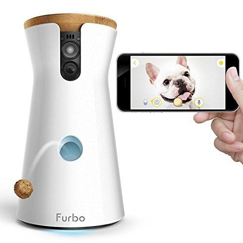 Fun TREAT TOSSING: TOSS a treat to your dogs via the free Furbo iOS/Android app. Fill it with your dogs' favorite treats & play a game of catch. Full HD Camera & Night Vision: livestr…