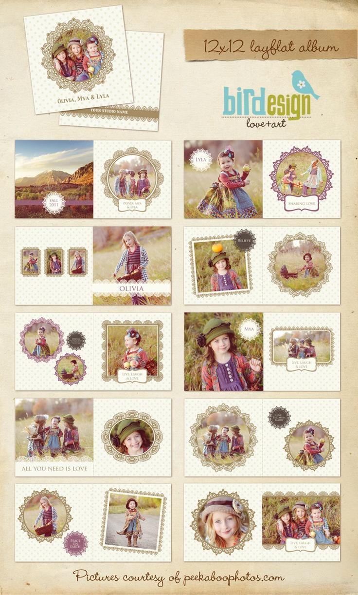 12x12 Album template for photographers - Happy Friends - E228. $35.00, via Etsy.