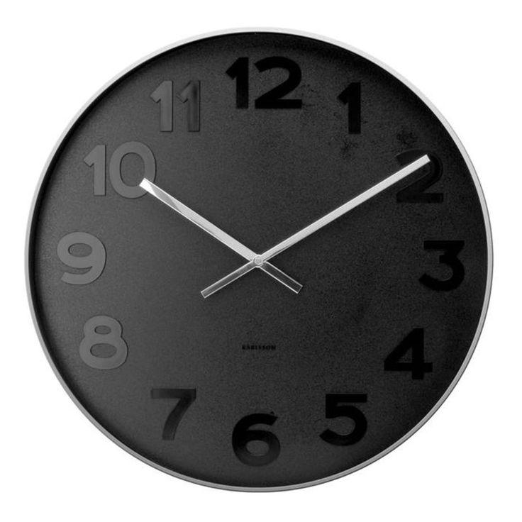 Karlsson Mr Black Numbers Wall Clock (S or XL) | hardtofind.