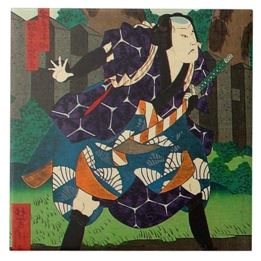 Japanse Kunst - een Samoerai die Gevormde Kimono Tegeltje Vierkant Large