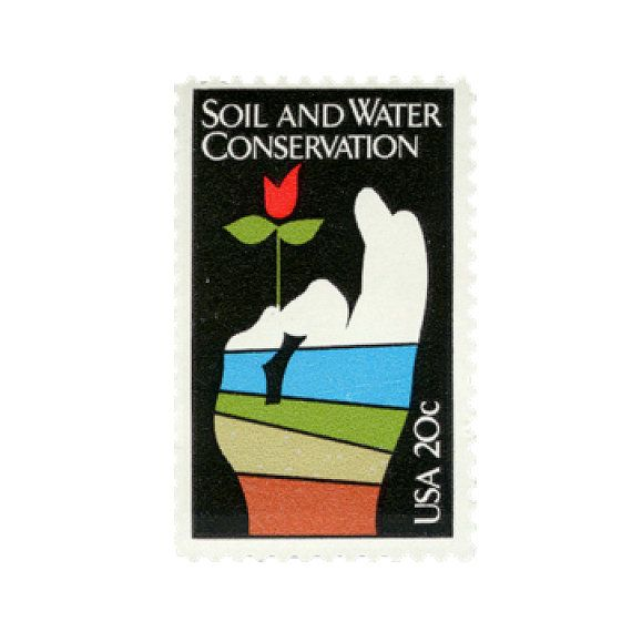 1984 Unused vintage 20 cent Soil and Water Conservation postage stamps.