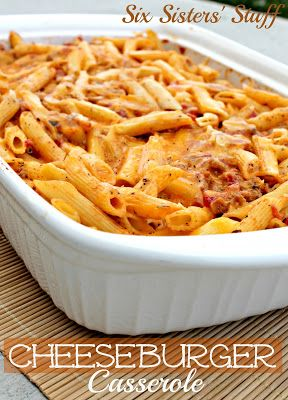Easy Cheeseburger Casserole:  Ingredients: 2 cups (6 ounces) Penne Pasta 2 teaspoons of olive oil 1 onion, finely chopped 1 garlic clove, finely chopped 1 pound lean ground beef or ground turkey 3/4 teaspoon salt 1/2 teaspoon black pepper 1 (28 ounce) can diced tomatoes 2 Tablespoons Dijon Mustard 2 cups reduced fat grated cheddar cheese