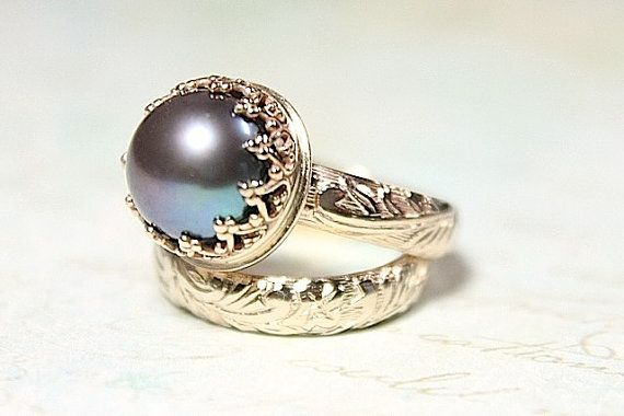 14K Gold Pearl Wedding Set - Recycled Gold Wedding Band & Engagement Ring - Beautiful Pearl and Vintage Styling