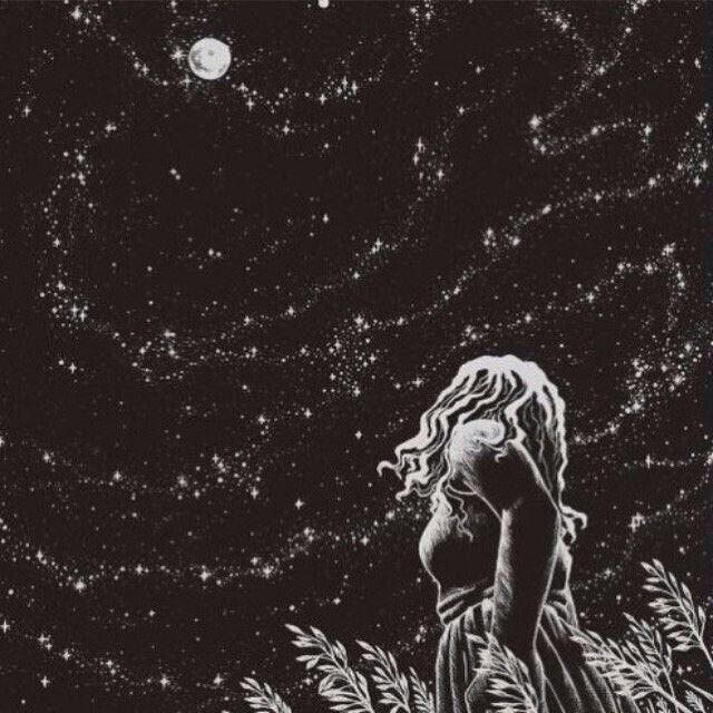 #space #girl #moon #night #stars #magic