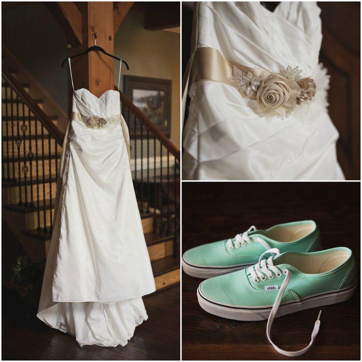 Wedding Dress and Mint Green Vans Sneakers #weddingring