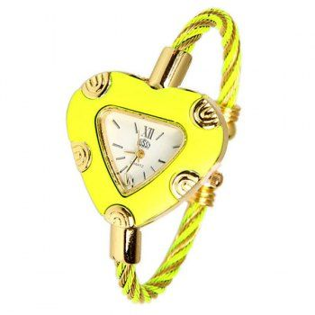 USS Quartz Watch with 2 Roman Numbers and Strips Hour Marks Steel Watch Band for Women, NEON YELLOW in Women's Watches | DressLily.com