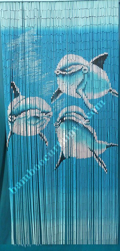 Three Swimming Dolphins Painted Bamboo Beaded Door Curtain