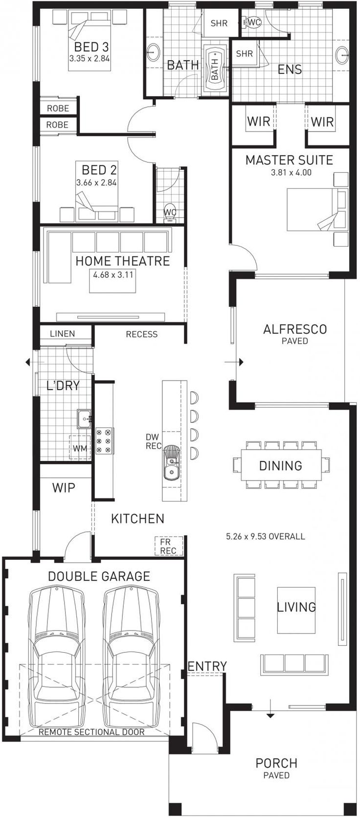 Cottesloe Beach, Single Storey Home Design Master Floor Plan, WA
