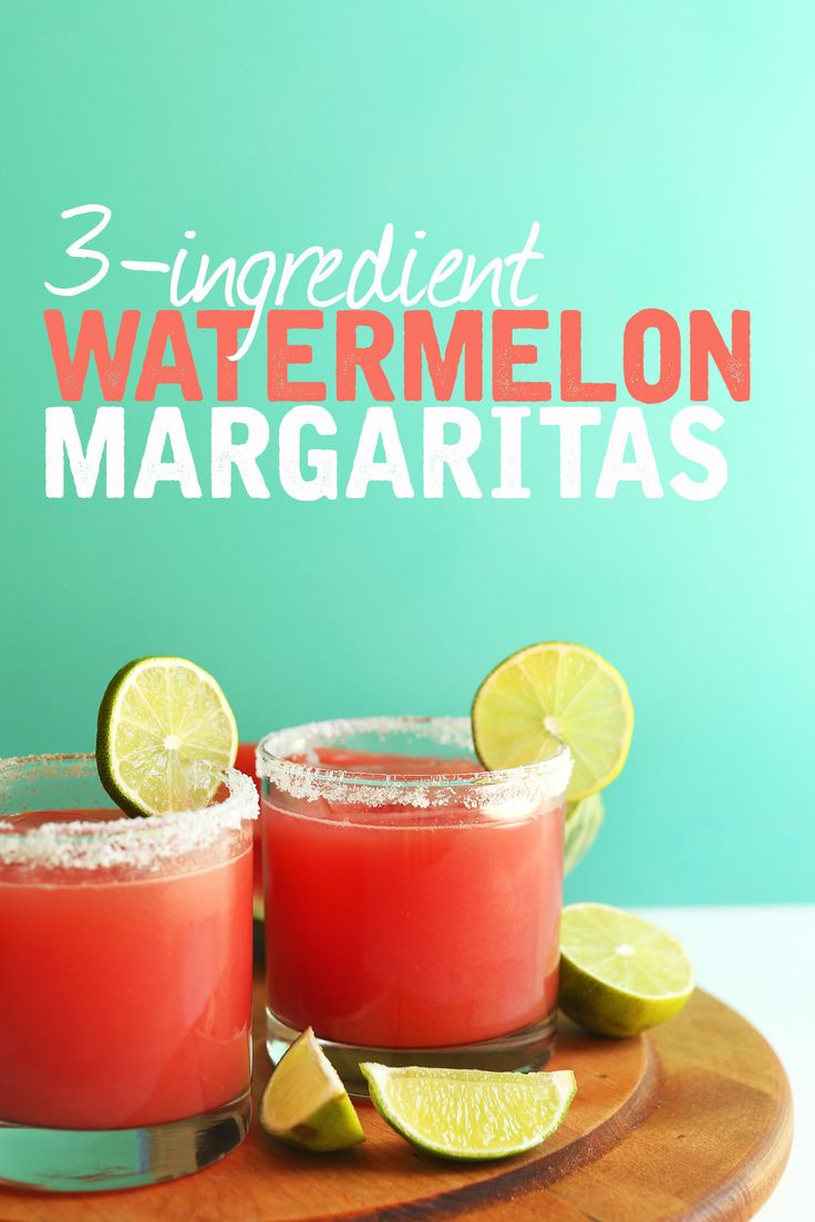 THE BEST Watermelon Margaritas | 3 ingredients! #vegan #margarita #watermelon…