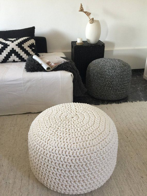 Large Round Crochet Pouf Pearl Ottoman Coffee Table Nursery Glider Footstool Stuffed Chunky Knit Pouffe Modern Mom Gift Knitted Pouffe Ottoman Coffee Table Woman Cave