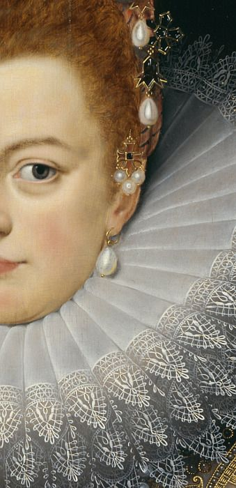 Frans Pourbus the Younger, detail of the full length portrait in the Royal Collection - Isabella Clara Eugenia of Spain (1566–1633), Archduchess of Austria - ruled the Spanish Netherlands in the Low Countries, and the north of modern France, together with her husband Albert, whom she married at the age 33.